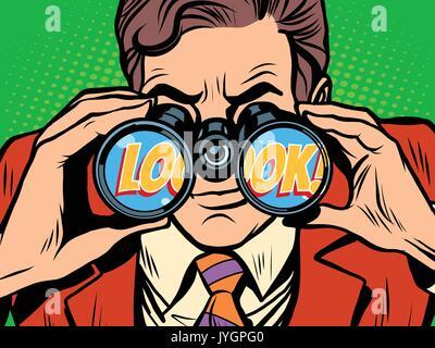 look Businessman looking through binoculars - Stock Photo