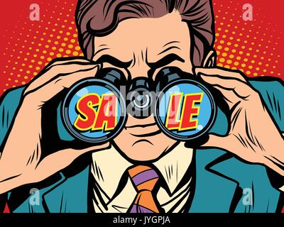 Sale Businessman looking through binoculars - Stock Photo