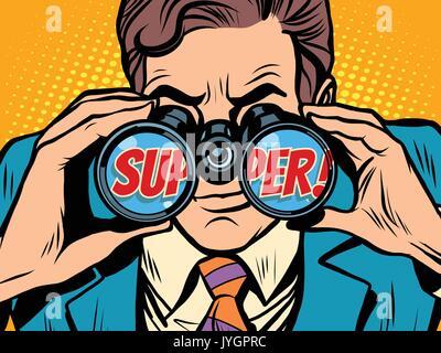 super Businessman looking through binoculars - Stock Photo