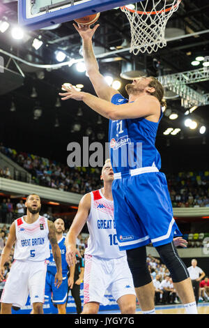 Copper Box Arena, London, UK, 19th August 2017. Greece's George Borgis (31) shoots a point. Tensions run high in the Team GB Men's game v. Greece in the Queen Elizabeth Olympic Park, Copper Box Arena, in this high profile preparation game.The game is Britain's only home game staged in the UK before they compete at FIBA EuroBasket 2017. The GB men are coached by Joe Prunty.