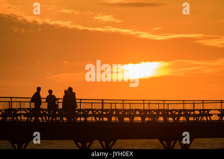 Aberystwyth Wales UK, Saturday 19 August 2017 UK Weather: At the end of a day of blustery wind and showers of rain, - Stock Photo