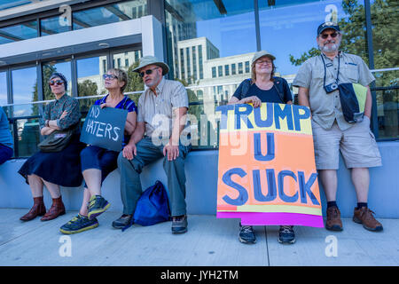 Vancouver, Canada. 19th Aug, 2017. Anti-Racism rally, City Hall, Vancouver, British Columbia, Canada. Credit: Michael - Stock Photo