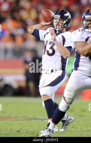 August 19, 2017: Denver Broncos quarterback Trevor Siemian (13) makes pass attempt in the game between the Denver - Stock Photo