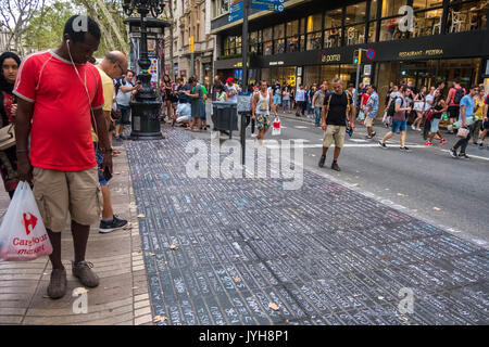 Barcelona, Spain. 19th Aug, 2017. On 19 August 2017 the city of Barcelona suffered the ISIS terrorist attack, with - Stock Photo