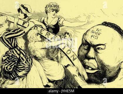 1886 Anti Chinese Cartoon from Australia - Stock Photo