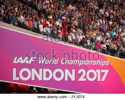 London, UK - 13 August, 2017: London athletics fans - Stock Photo