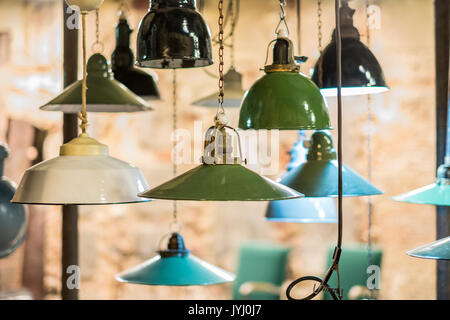 group of vintage lights hanging , industrial lamps - Stock Photo