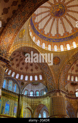 Interior of the Sultan Ahmed Mosque, Istanbul, Turkey - Stock Photo
