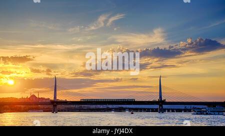 Golden Horn Metro Bridge, Istanbul, Turkey - Stock Photo