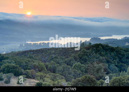 Fog slides over the hills in a thick white blanket. - Stock Photo