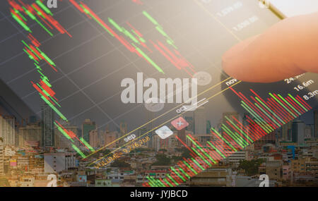 double exposure, close up checking stock market on smartphone - Stock Photo