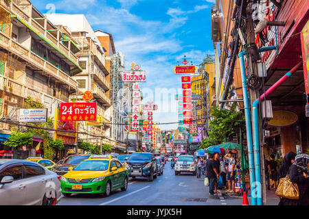 Chaina town, Bangkok, Thailand - August 9, 2017: traffic on Yaowarat road. Chinatown with notable Chinese buildings, - Stock Photo