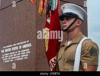 U.S. Marine Corps Sgt. Jeremy Pogue, a rifleman with 1st Battalion, 1st Marine Regiment, 1st Marine Division, stands - Stock Photo