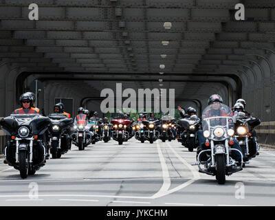 Hamburg Harley Days Biker-City-Event big motorbike motorbiker parade Germany - Stock Photo