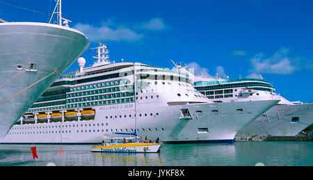 St. John's, Antigua and Barbuda - February 07, 2013: Cruise ship Brilliance of the Seas Royal Caribbean International - Stock Photo