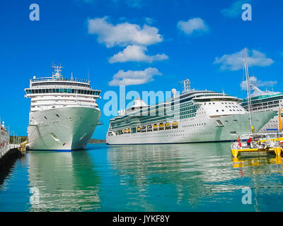 St. John's, Antigua and Barbuda - February 07, 2013: Cruise ship Brilliance of the Seas Royal Caribbean International - Stock Photo