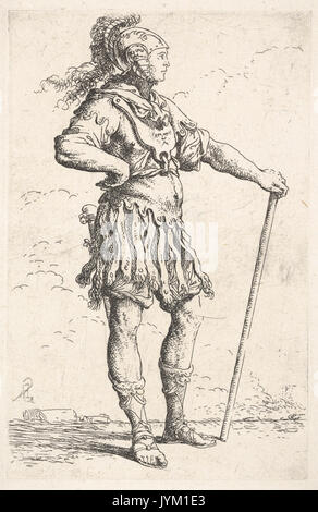 A warrior facing right wearing a plumed helmet and holding a staff, from the series 'Figurine' MET DP832607 - Stock Photo