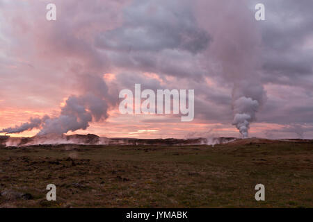 Sunrise in geothermal site Gunnuhver, Iceland - Stock Photo