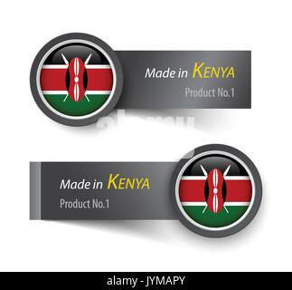 Flag icon and label with text made in Kenya . - Stock Photo