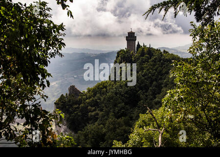 Guaita fortress bell tower in San Marino on Mount Titano - Stock Photo
