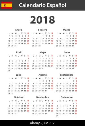 Spanish Calendar For 2018 Scheduler Agenda Or Diary Template Week