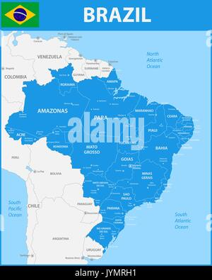 Detailed Map Of Argentina And Capital City Buenos Aires With Flag - Argentina map detailed