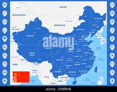 Map pins with flag of china vector illustration stock vector art china flag and pins for infographic and map design the detailed map of china with regions or states and cities capitals with map gumiabroncs Images
