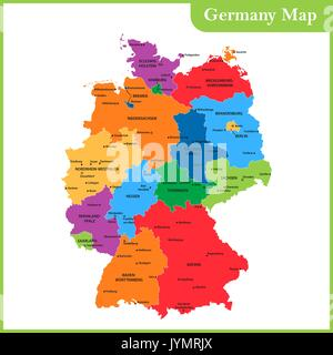 Detailed Vector Map Of Germany And Capital City Berlin Stock - Germany map regions