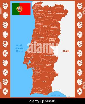 The Detailed Map Of The Portugal With Regions Or States And Cities - Portugal map regions