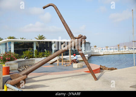Old Anchor monument at Mindelo Marina, Mindelo, Sao Vicente, Cape Verde (Cabo Verde), Africa - Stock Photo