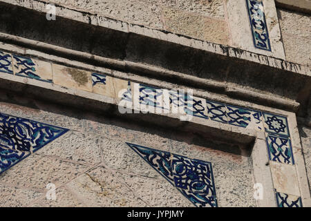 Tiles decorating facade of the former Arab house of Al Masu family located in 25 Emek Refaim street in the German - Stock Photo