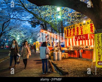 Celebrating hanami at Omiya Koen, Saitama, Japan - Stock Photo