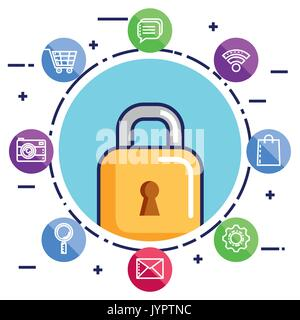 mobile phone security technology applications icon - Stock Photo