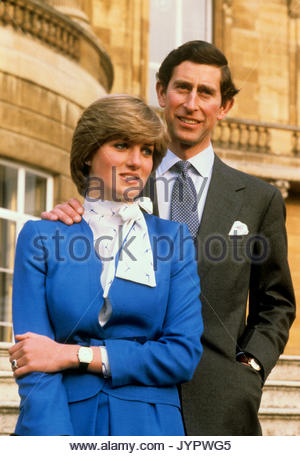 Embargoed to 0001 Monday August 21 File photo dated 24/2/1981 of the Prince of Wales and Lady Diana Spencer in the - Stock Photo