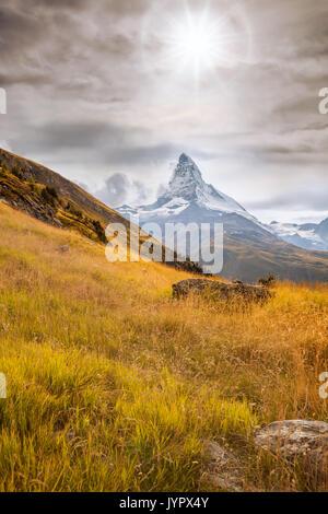 Famous Matterhorn in Switzerland, Zermatt area - Stock Photo