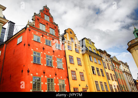 Angle shot of houses on Stortorget square in Stockholm, Sweden - Stock Photo