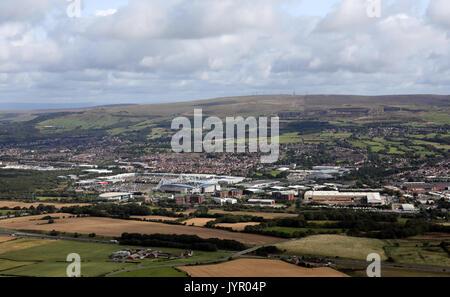 aerial view of Bolton Reebok area & Winter Hill, Lancashire, UK - Stock Photo