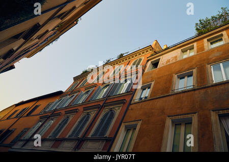 Unusual view on the street of Rome in the Trastevere district in the early morning. - Stock Photo