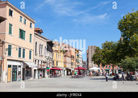 Campo Santa Margherita, Dorsoduro, Venice, Italy in summer  with few people around due to the intense heatwave and - Stock Photo