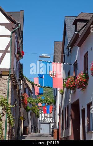 Weinfest im Weinort Winningen, Untermosel, Landkreis Mayen-Koblenz, Rheinland-Pfalz, Deutschland, Europa   Wine - Stock Photo