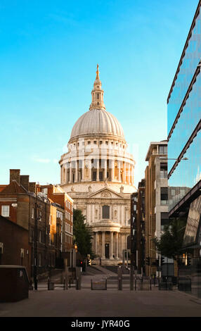 The famous St Paul's cathedral at sunrise, London, United Kingdom. - Stock Photo