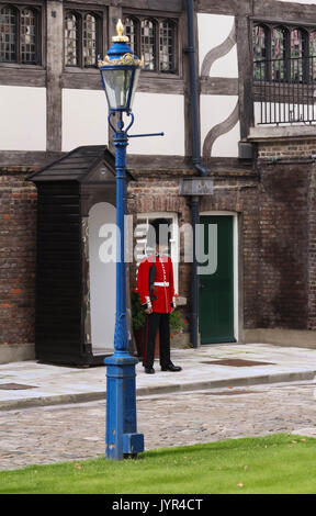 The British Royal guard in the London Tower on guard duty ,London, United Kingdom. - Stock Photo