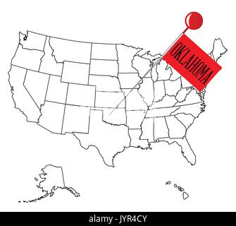 Worksheet. United States of America isolated map and Oklahoma State territory