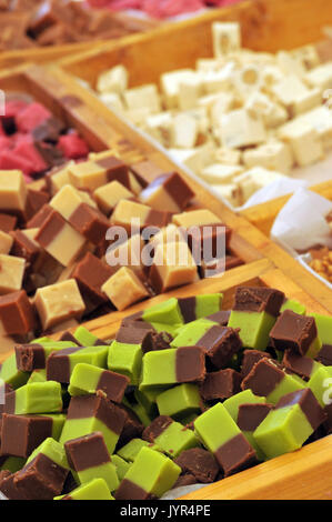 fudge and confectionery for sale on display at a fair the garlic festival sweet treats candy sweets and confections - Stock Photo