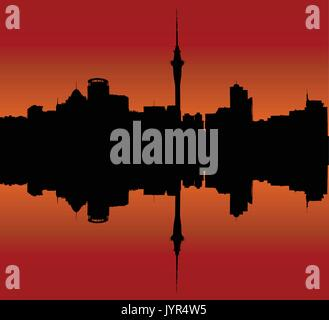 Auckland Downtown Skyline During Sunset - Stock Photo