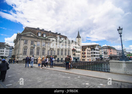 Downtown City scenes and panorama views from Limmat bridge  Zurich Switzerland - Stock Photo