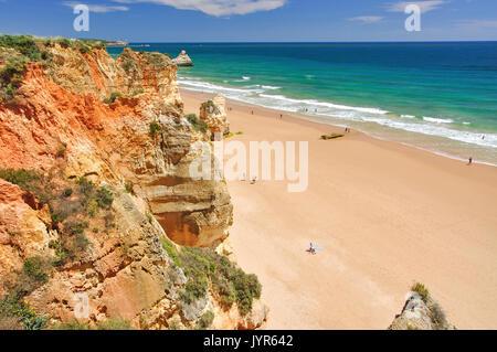 Beach view, Praia da Rocha, Portimão, Portimão Municipality, Faro District, Algarve Region, Portugal - Stock Photo