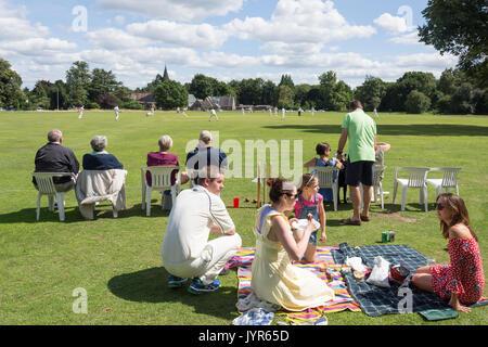 Saturday match at Chorleywood Cricket Club, Chorleywood, Hertfordshire, England, United Kingdom - Stock Photo