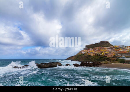 View of the old town and fortress of Castelsardo, Sassari province, Sardinia, Italy, Europe. - Stock Photo