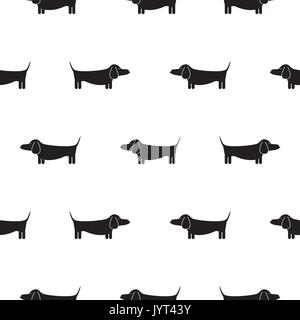 Dachshund dog silhouette seamless vector monochrome pattern. - Stock Photo